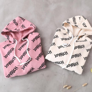 Simple drawstring cotton hooded top silhouette Outfits beige alphabet prints tops
