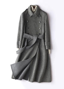 Simple gray striped Plus Size Long Woolen CoatsTutorials lapel tie waist outwears