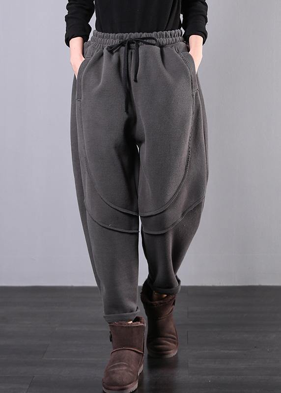 Simple gray women pants plus size clothing elastic waist drawstring Photography trousers