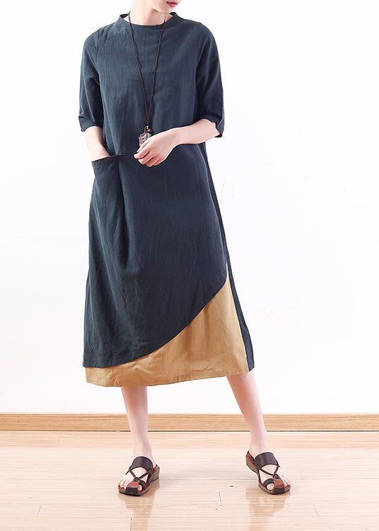 Simple green linen cotton clothes For Women Vintage Tutorials patchwork A Line summer Dress