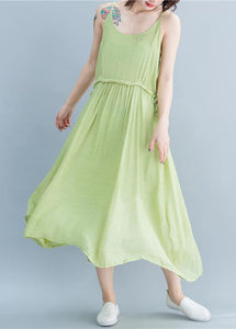 Simple green linen dresses Spaghetti Strap drawstring loose summer Dresses