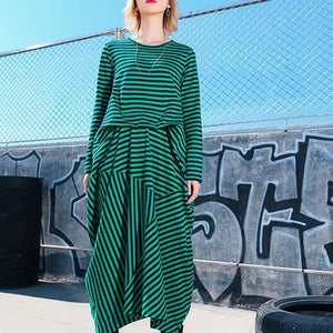 Simple green striped cotton Tunics Korea Photography asymmetric Maxi Dresses