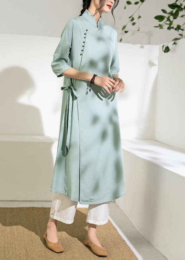 Simple green tunic top stand collar tie waist Dress