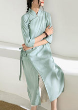 Load image into Gallery viewer, Simple green tunic top stand collar tie waist Vestidos De Lino Dress