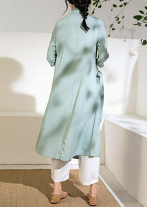 Simple green tunic top stand collar tie waist Vestidos De Lino Dress