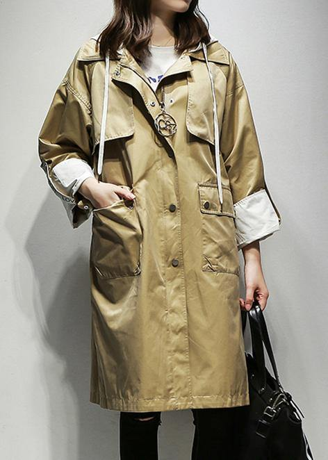 Simple hooded drawstring Fine Coats Women khaki cotton women coats