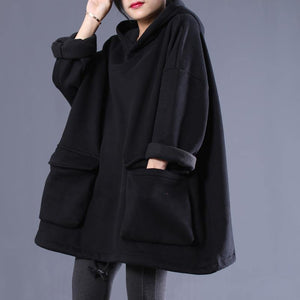 Simple hooded drawstring spring shirts women black tops