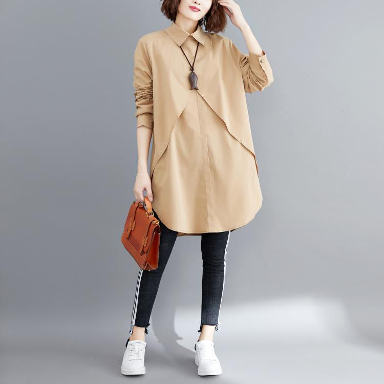 Simple khaki cotton Blouse 2019 pattern lapel asymmetric short blouses
