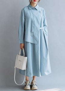 Simple lapel asymmetric cotton Wardrobes Shirts blue cotton robes Dresses fall
