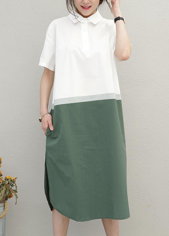 Simple lapel patchwork Cotton summer tunics for women Work Outfits green Dress