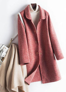 Simple lapel pockets Fashion trench coat rose plaid box jackets