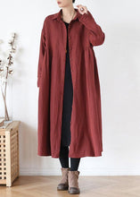 Load image into Gallery viewer, Simple lapel pockets baggy Fashion coats women red outwear fall