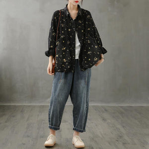 Simple lapel pockets fall crane tops pattern black print shirt