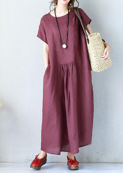 Simple linen clothes For Women Fitted Summer Women Elegant Loose Short Sleeve Navy Blue Dress