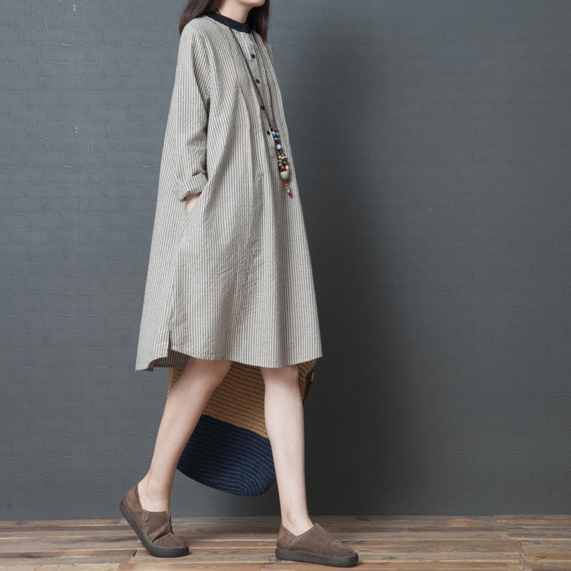 Simple long sleeve linen dress Organic Work Outfits black striped Art Dress stand collar