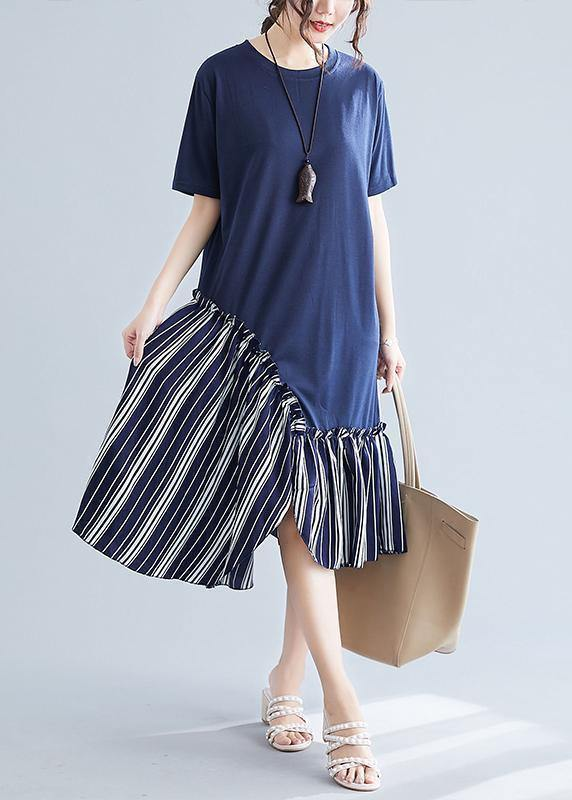 Simple navy patchwork striped cotton Tunics o neck long summer Dress
