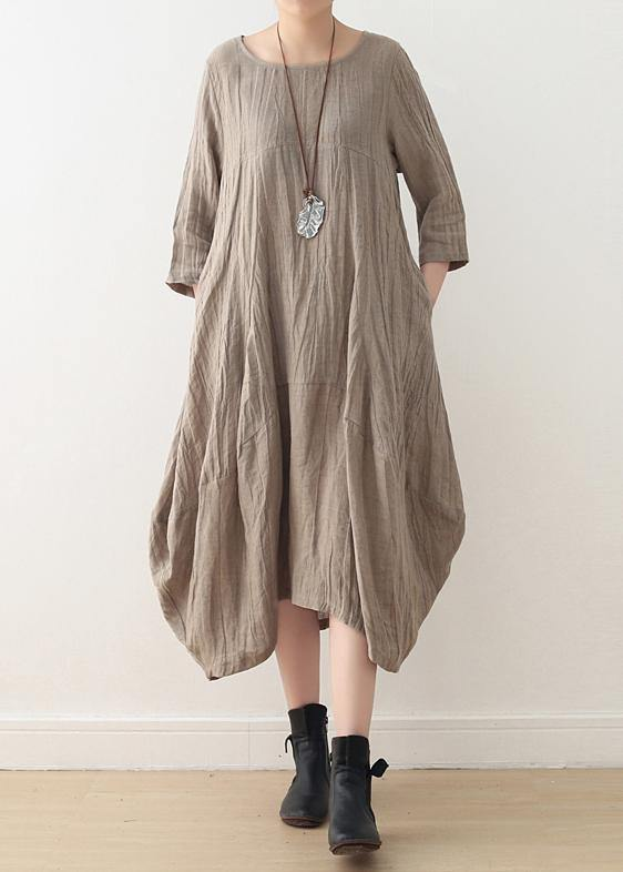 Simple nude linen Long Shirts o neck asymmetric linen robes Dresses