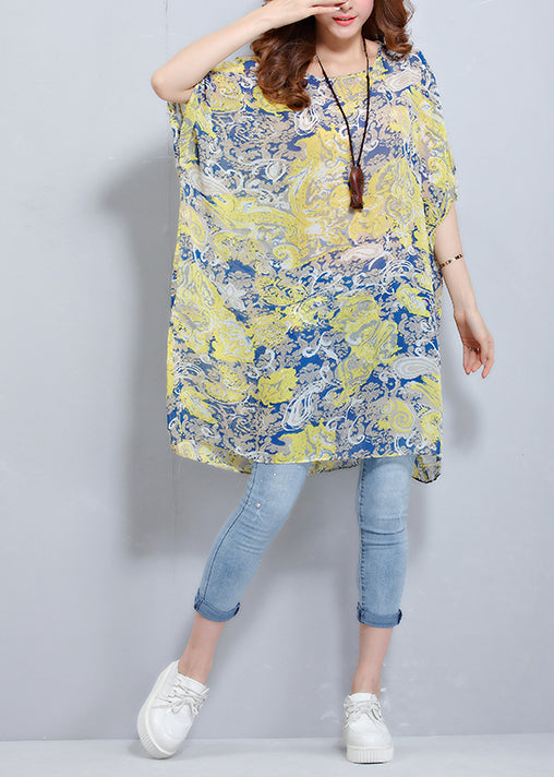 Simple o neck Batwing Sleeve chiffon tunic pattern plus size Photography floral blouses Summer