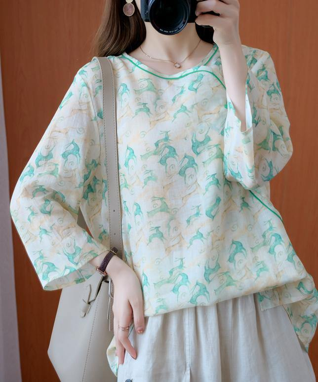 Simple o neck half sleeve clothes Tutorials green print top