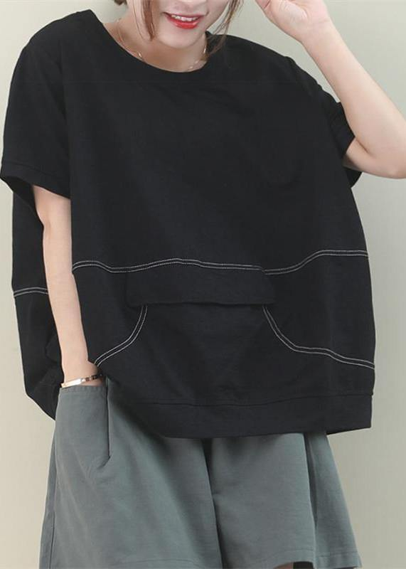 Simple o neck patchwork cotton Tunic Work Outfits black blouse