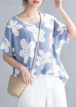 Load image into Gallery viewer, Simple o neck tunic pattern Neckline light blue print tops