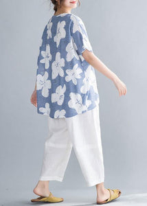 Simple o neck tunic pattern Neckline light blue print tops