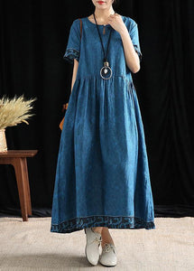 Simple o neck wrinkled cotton outfit Tutorials blue print Dresses