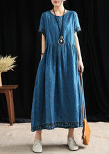 Load image into Gallery viewer, Simple o neck wrinkled cotton outfit Tutorials blue print Dresses