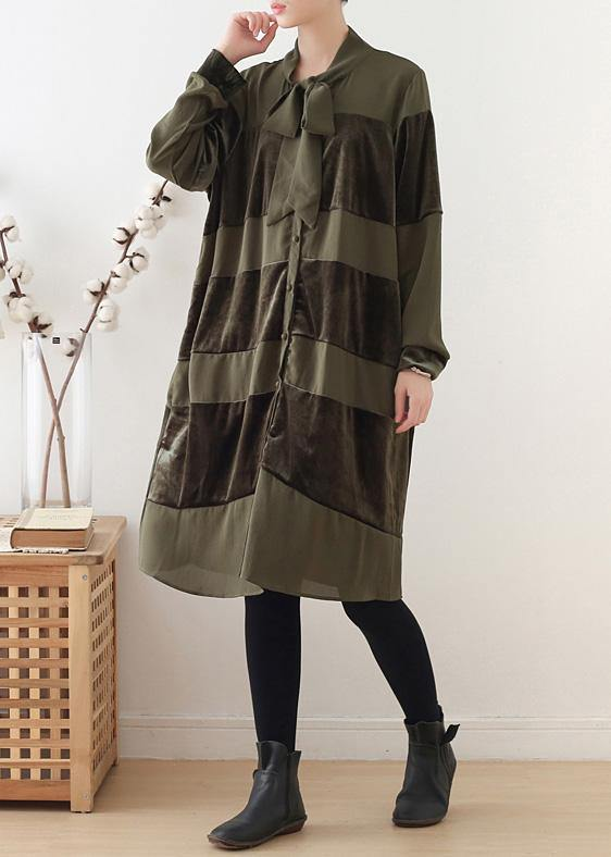 Simple patchwork Bow Cotton clothes Women Fashion Ideas army green Dresses fall