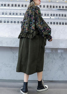 Simple patchwork camouflage tunics for women o neck Ruffles Dresses