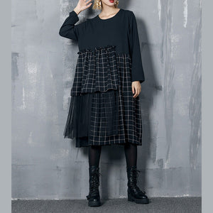 Simple patchwork dress for women Indian Sewing black silk cotton Dresses