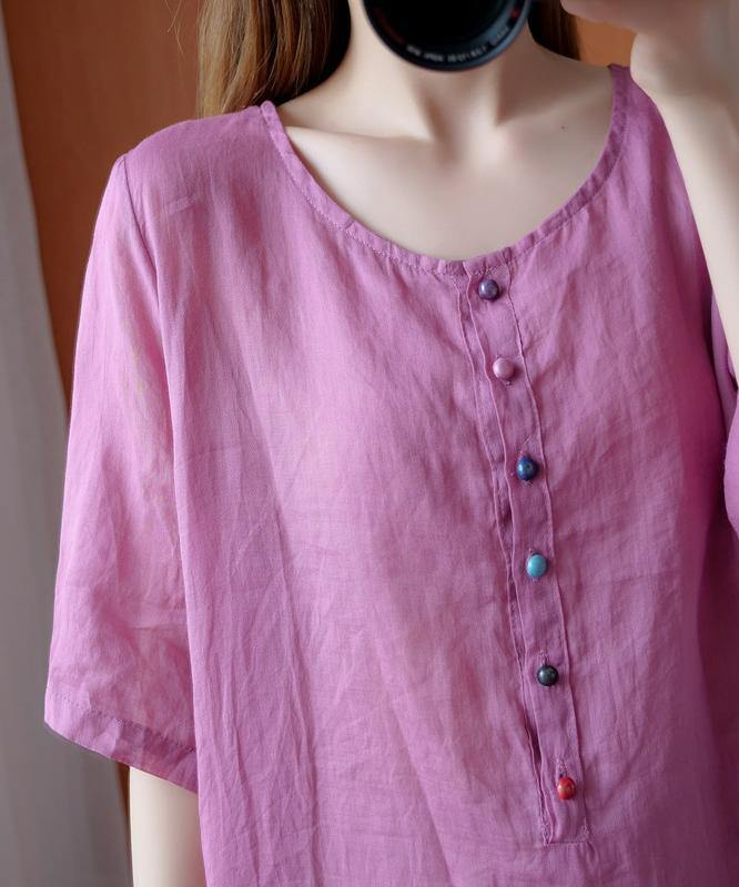 Simple pink clothes For Women o neck asymmetric Midi blouse