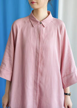 Load image into Gallery viewer, Simple pink linen dress flare sleeve cotton fall Dress