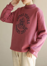Load image into Gallery viewer, Simple pink prints cotton shirts half high neck short spring Sweatshirt