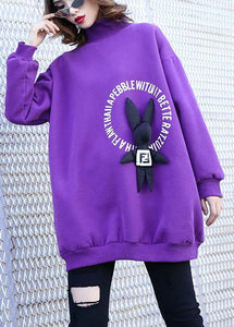 Simple purple cotton clothes For Women Cartoon animal decorated baggy prints tops