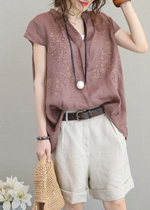 Simple purple khaki linen clothes stand collar short summer tops
