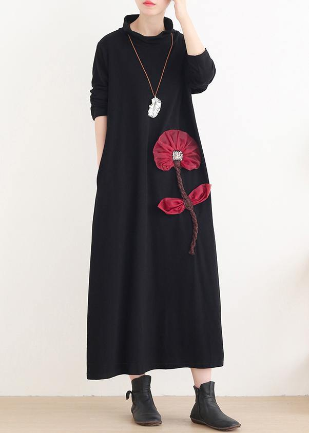 Simple red Lotus Long dress high neck Maxi Dress