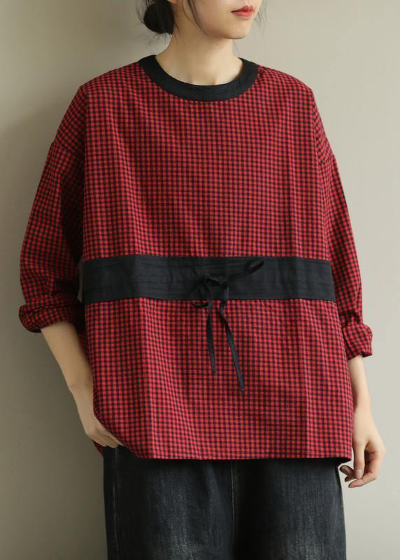 Simple red plaid clothes o neck tie waist baggy fall top