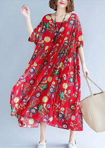 Simple red print cotton clothes For Women o neck wrinkled Vestidos De Lino summer Dresses