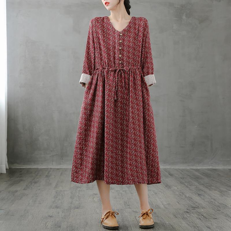 Simple red print top stand collar drawstring Plus Size fall Dress