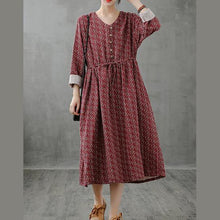 Load image into Gallery viewer, Simple red print top stand collar drawstring Plus Size fall Dress
