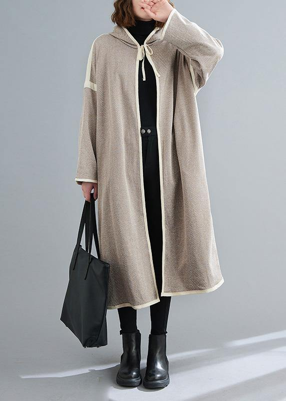 Simple striped  tunic coats Outfits hooded patchwork coat