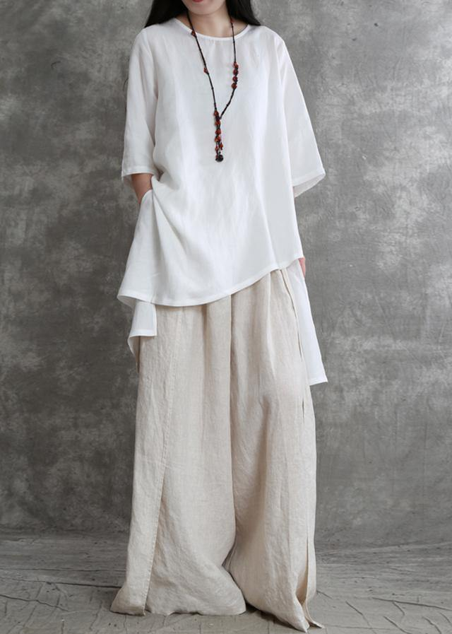 Simple two-piece female summer loose loose white shirt wide-leg pants