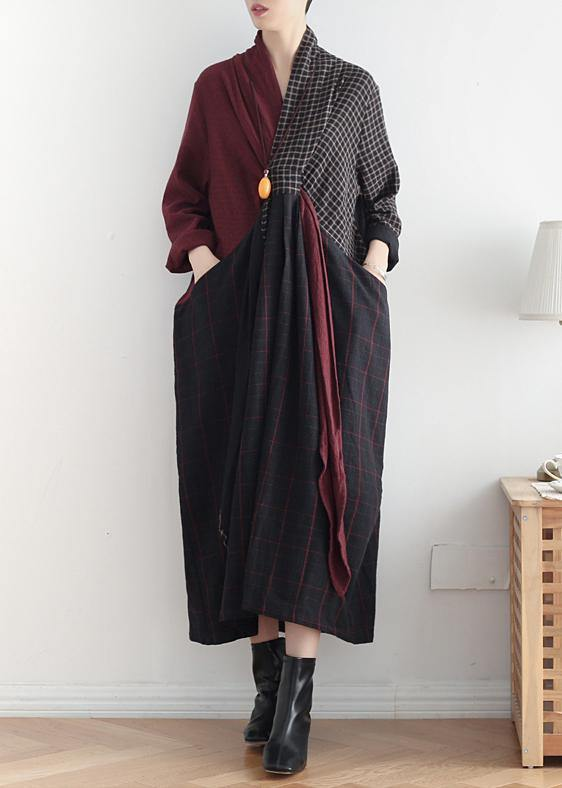 Simple v neck asymmetric linen dresses Wardrobes red patchwork black Dresses fall