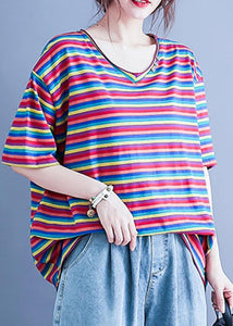 Simple v neck baggy shirts Wardrobes striped blouse