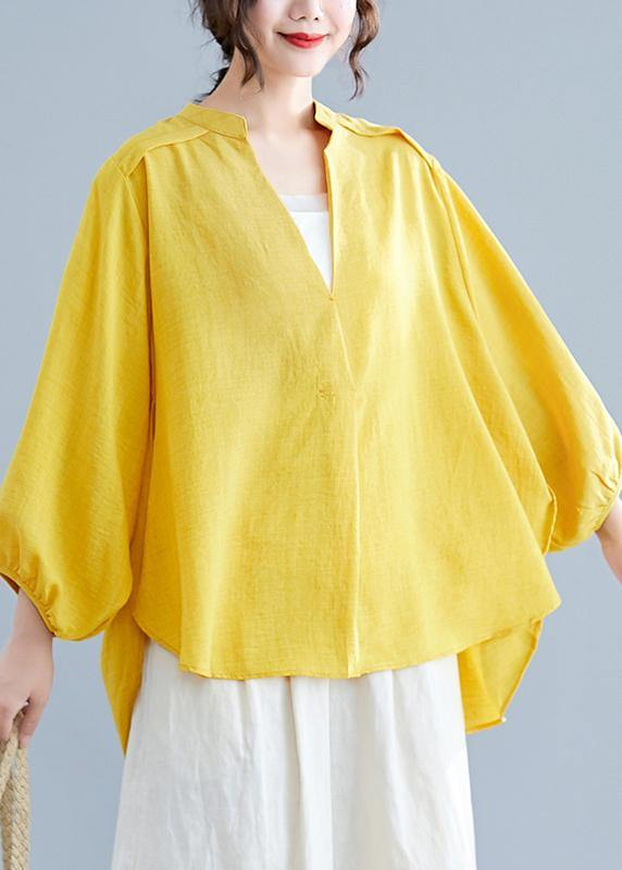 Simple v neck batwing sleeve linen crane tops yellow oversized blouses summer