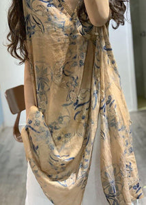 Simple v neck prints linen clothes side open loose Dress
