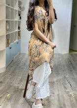 Load image into Gallery viewer, Simple v neck prints linen clothes side open loose Dress