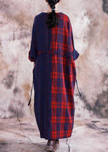 Load image into Gallery viewer, Simple v neck tie waist linen cotton dress linen red plaid Dresses fall