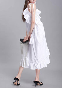Simple white Cotton dress sleeveless daily summer Dresses